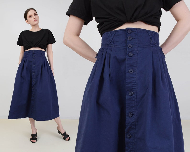Vintage Navy Cotton Skirt  Ultra High Waist Button Front image 0