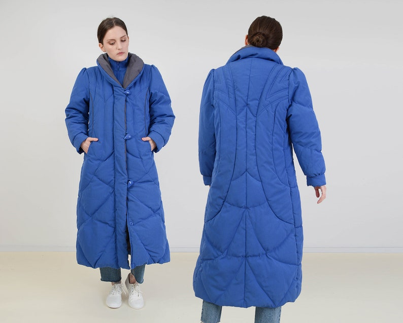 Vintage 80s Blue Puffer Coat  Long Down Feather Coat  size image 0
