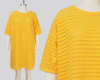 Vintage Yellow Sheer T-shirt Dress | Holey Beach Cover Up Tee Shirt | ONE SIZE