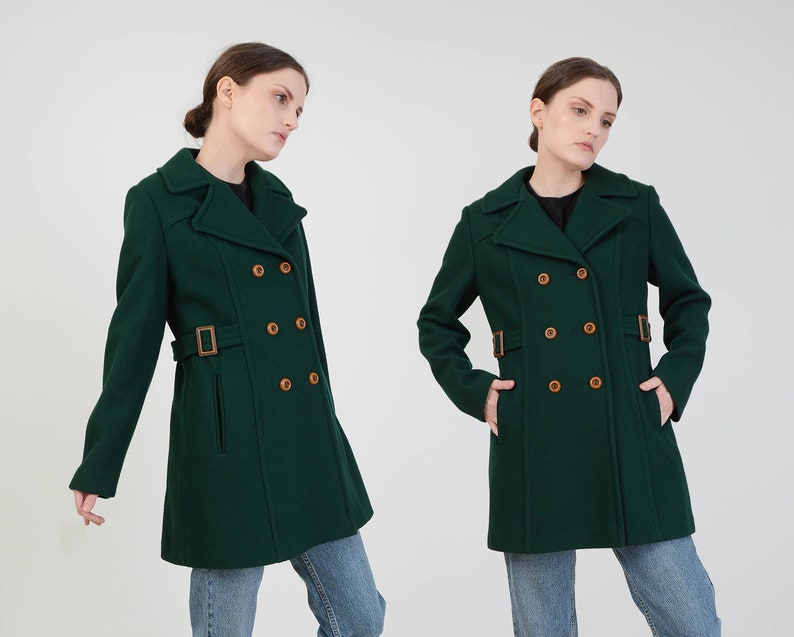 Vintage 70s Dark Green Peacoat  Double Breasted Wool Blend image 0