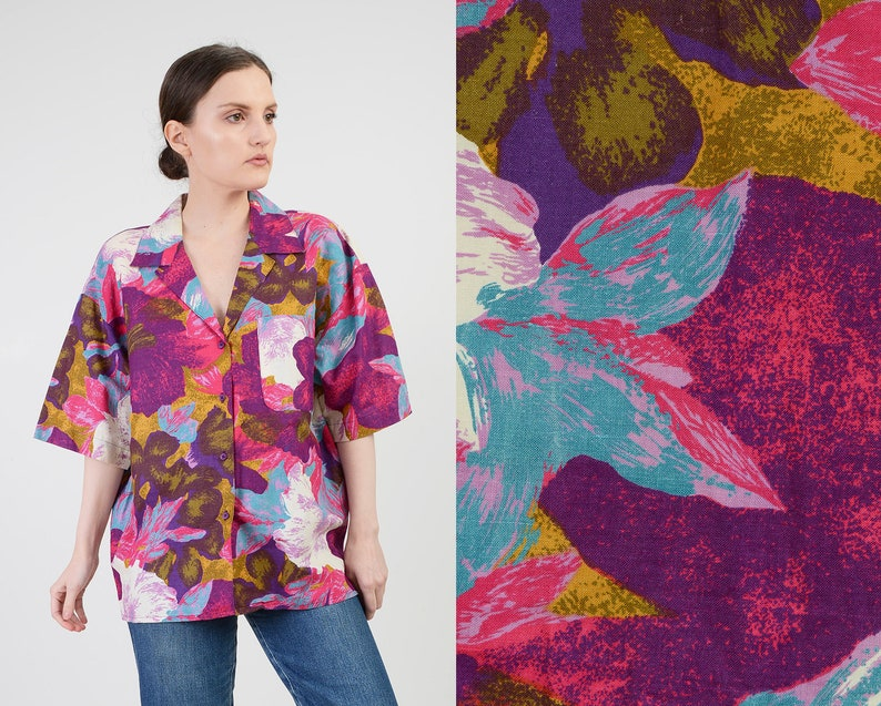 Vintage Abstract Floral Shirt  size M L  Oversized Cotton image 0