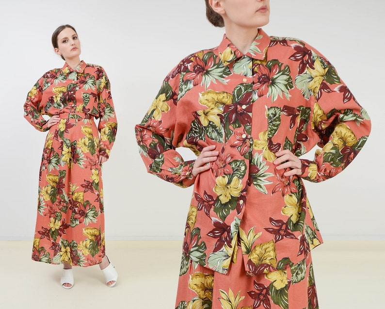 Vintage Floral Shirt and Skirt Set  Linen and Cotton Long image 0