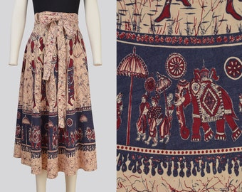 Vintage 70s Ethnic Wrap Skirt | Bohemian ELEPHANT Block Print Cotton Midi Skirt | size Medium 28 - 30