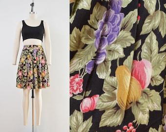 Vintage 80s Floral FRUIT Print Skirt | Pleated Mini Skirt | Cottage Skirt | size 27 waist