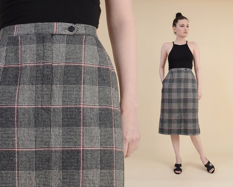 9d3fef94f0 Vintage 70s Checkered Plaid Pencil Skirt Wool Blend High | Etsy