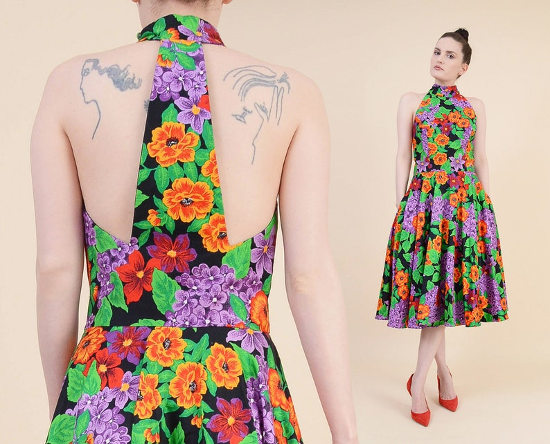 e8340814866 Vintage 80s Floral Party Dress AJ BARI Cotton Sundress Full