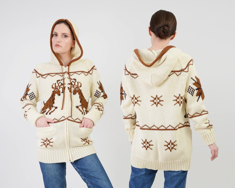 Vintage 70s Deer Sweater Jacket  Cream and Brown Snowflake image 0