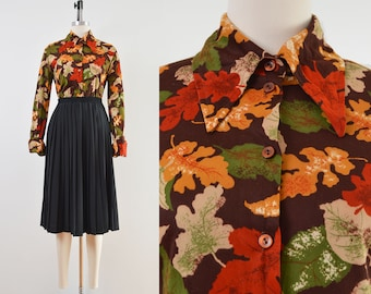 Vintage 70s Autumn Leaf Print Shirt   Pointed Collar Disco Shirt   size S