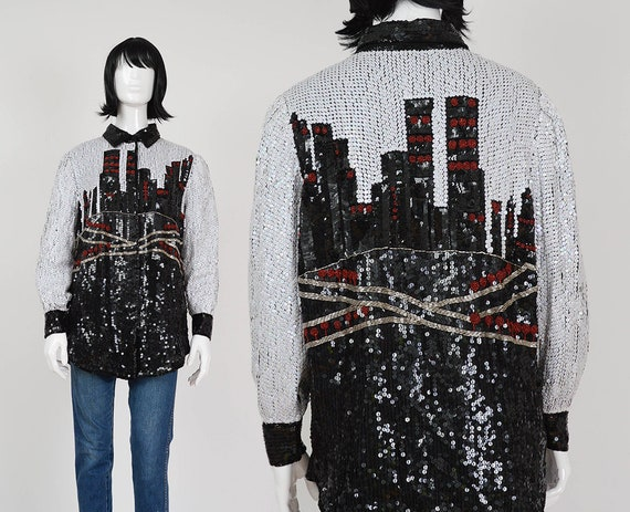 Novelty NOS City Oversize Sequin Button M Graphic Beaded Black Down 80s Jacket Shirt White Collared S Skyline Red Blouse Scene NYC size 0gx1qw