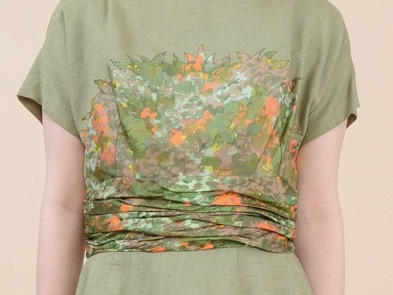 Appliqué Dress Sheath Midi Length 8 50s Short Dress Green Floral Dress Wiggle Cocktail M Waist Sleeve Silk Cummerbund Medium WzXqpC