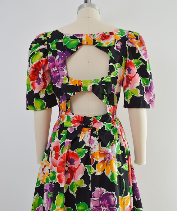 Vintage 80s Floral Cotton Dress | Puff Sleeve Ope… - image 7