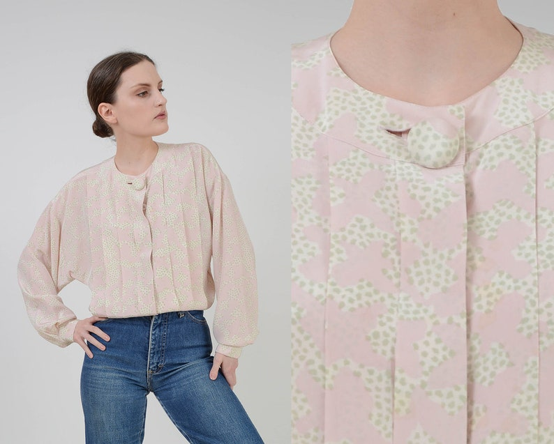Vintage 80s Pastel Abstract Print Blouse  Pleated Blouse  image 0