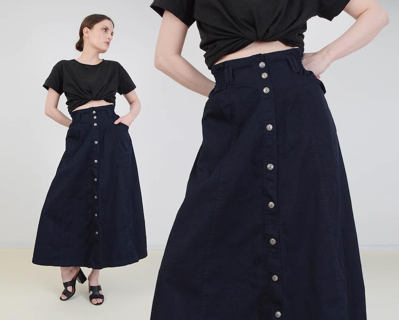 Vintage Dark Navy Skirt  Full Cotton Skirt  Button Front image 0