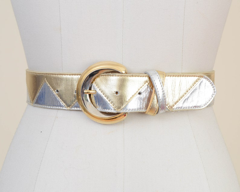 Vintage 80s Metallic Gold and Silver Belt  Zig Zag Leather image 0