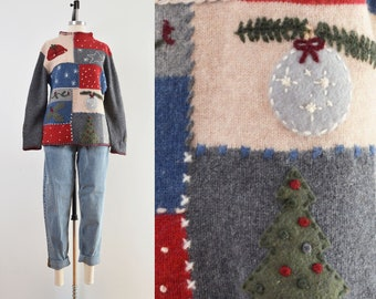 Vintage Lambswool Holiday Sweater   Winter Novelty Funnel Neck Sweater   size M L