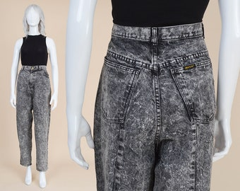 80s Gray Acid Wash Jeans | size L XL | High Waist Jeans Tapered Leg Mom Jeans with Zipper Ankle | 36 waist