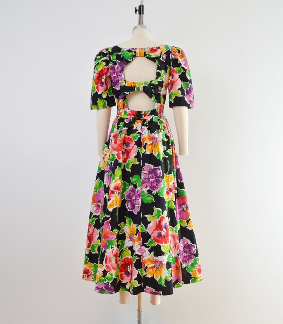Vintage 80s Floral Cotton Dress | Puff Sleeve Ope… - image 5