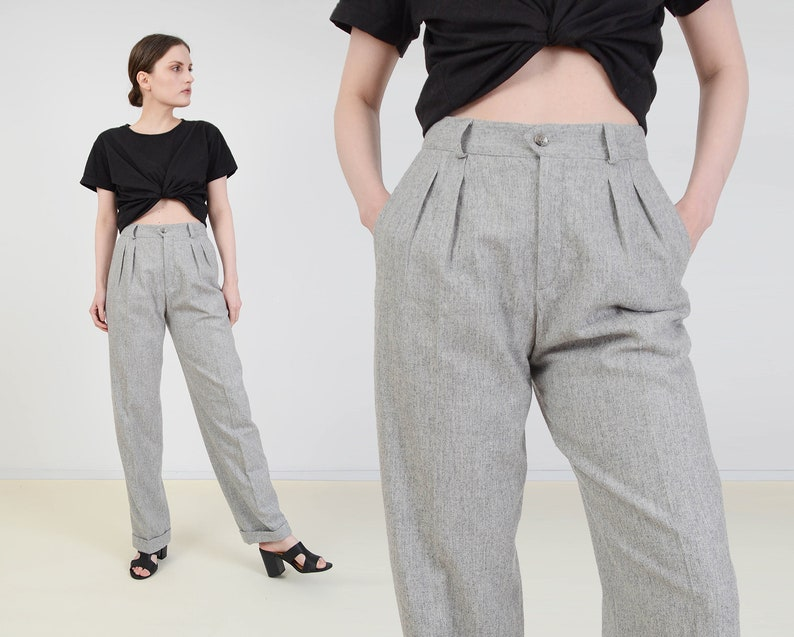 Vintage 80s Gray Wool Blend Pants  Minimalist Pants  High image 0