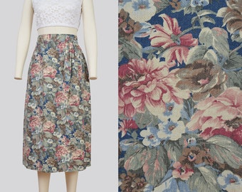 Vintage 90s Floral Jean Skirt | High Waist Wrap Skirt | Midi Length Pencil Skirt | size Medium 28 waist