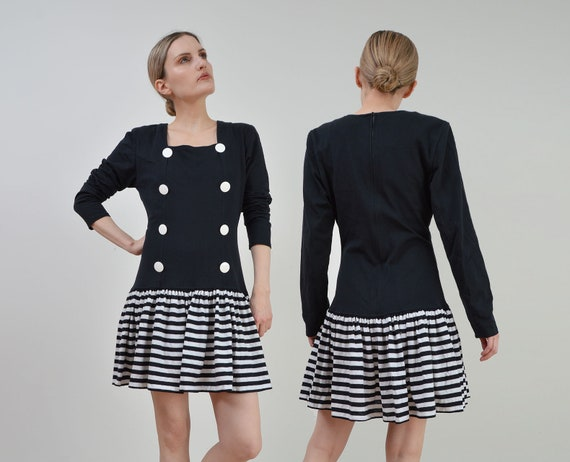 8. Black and Silver Stripe Skirt,Gathered at Drop Waist SALE..Vintage 1980/'s Party Dress,Open Back,AURELIE,Velveteen Top with Drop Waist