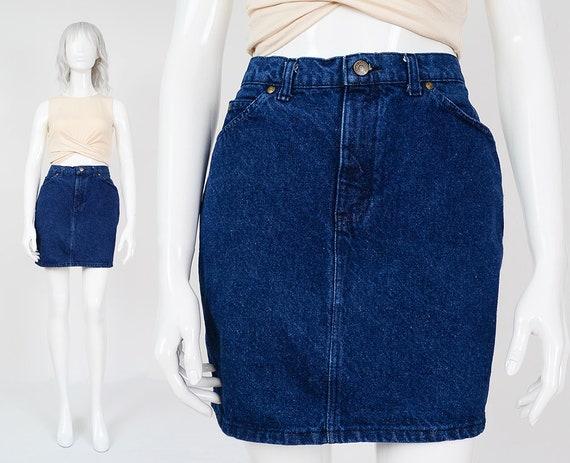 1d3e5bae8d2 90s Denim Mini Skirt size Medium Tight Fitted High Waisted