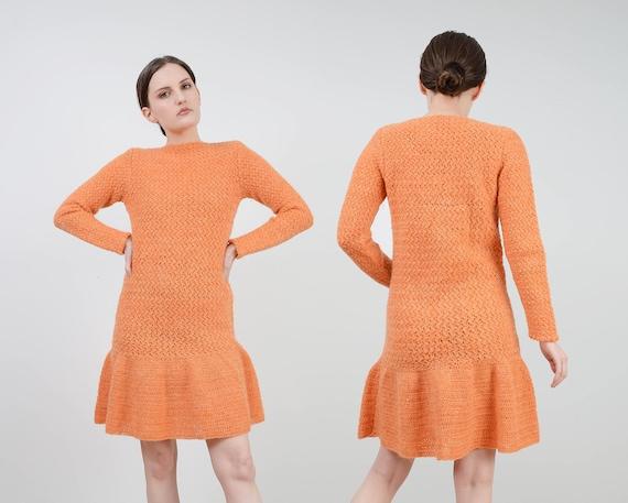 Vintage ladies women\u2019s handknitted hand knit wool pumpkin orange arran winter festive jumper fisherman 60s 70s  size medium