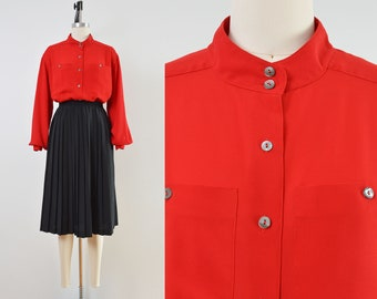 Vintage Red Blouse | Semi Sheer Button Down Shirt | size M