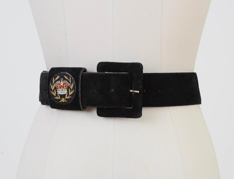 Vintage Black Suede Belt  Embroidered Crown Crest Belt  Ann image 0