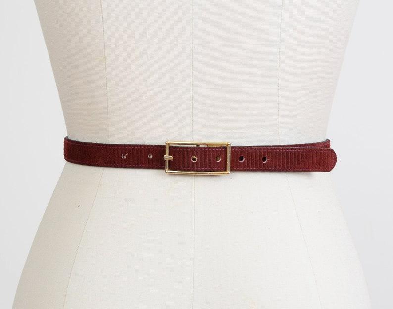Vintage Dark Burgundy Belt  Suede Skinny Belt  Garay Belt image 0