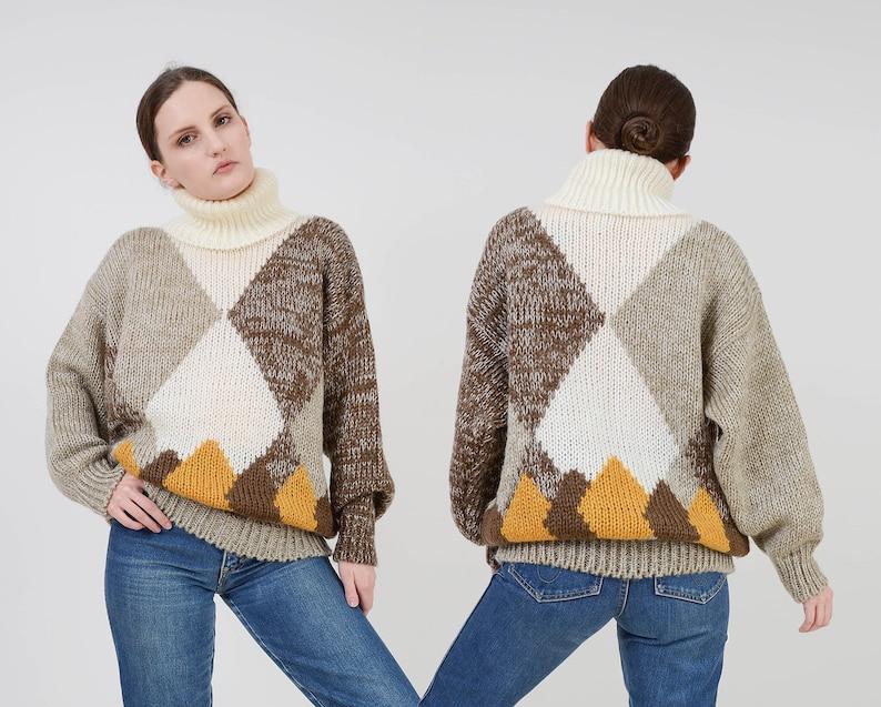 Vintage 80s Geometric Sweater  Cowl Neck Sweater  Modern image 0