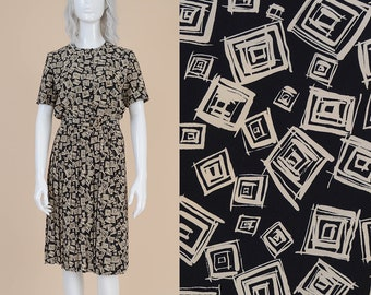 80s Black Abstract Geometric Print Dress | size S M | Short Sleeve Button Front Pleated Skirt Secretary Midi Dress with Belt | 6 / 8 NOS