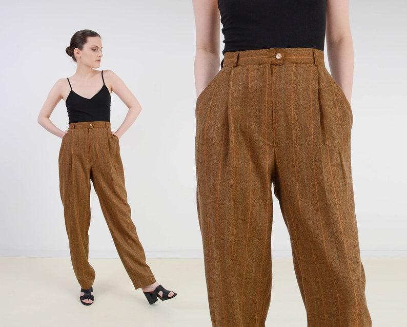 Vintage Brown Striped Trousers  Wool Blend High Waist Pants  image 0
