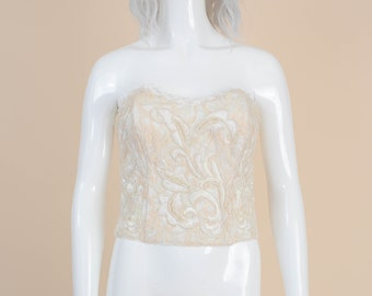 Victoria's Secret Vintage Cream Lace Beaded Bustier Top | size S M | Sweetheart Neckline Strapless Top Wedding Formal Off White Ivory 34 36