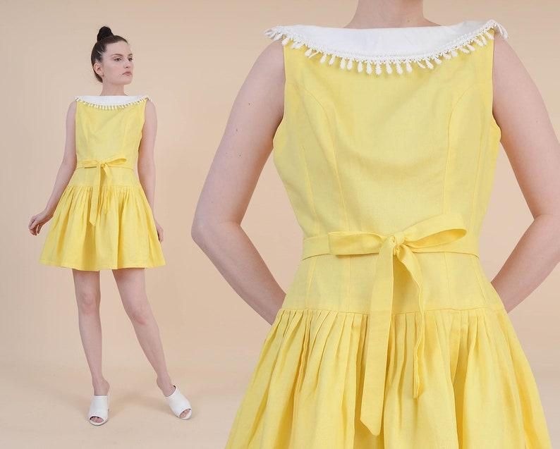 78b03853810 Vintage 50s Yellow Cotton Mini Dress size S M White Lace