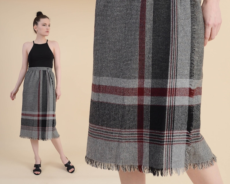 218a4c573f Vintage 80s Plaid Wrap Around Skirt Wool Blend Fringe | Etsy