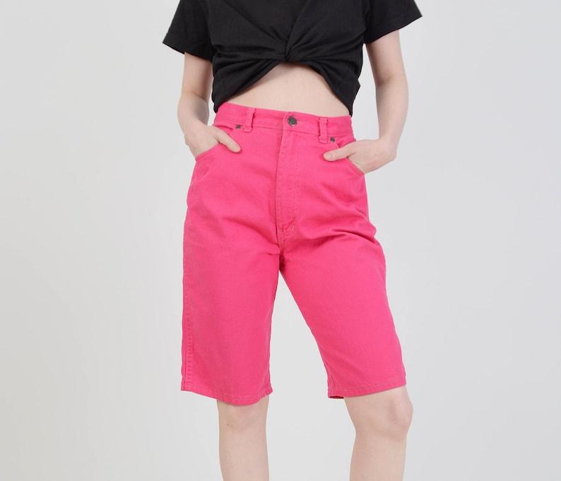 High Waist Knee Length Shorts Vintage 80s Magenta Pink Shorts size M 28 inch waist