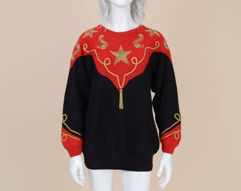 80s Nautical Sweater | size S M | Beaded Stars Cotton Ramie Knit Top Kitschy Novelty Pullover Sweater Red Black Gold | Small Medium