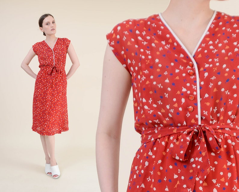 Vintage 80s Red Floral Dress  size XS S  Semi Sheer Button image 0