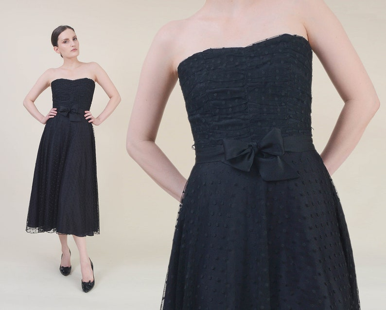 Vintage 80s does 50s Black Strapless Dress | size XS S | Sheer Polka Dot Tulle Mesh Full Sweep Sweetheart Cocktail Party Midi Dress | Small