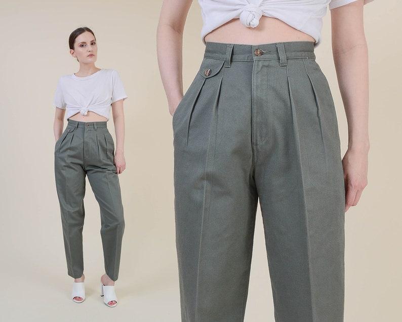 Vintage 90s Green Pants  Lee Cotton Khakis  High Waist image 0