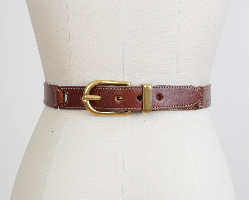 Vintage FOSSIL Belt  Bridle Leather Belt  Mahogany Brown image 0