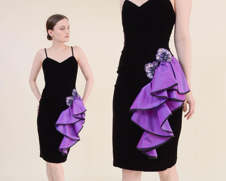 Vintage 80s Black Velvet Party Dress  size XS  Sweetheart image 0