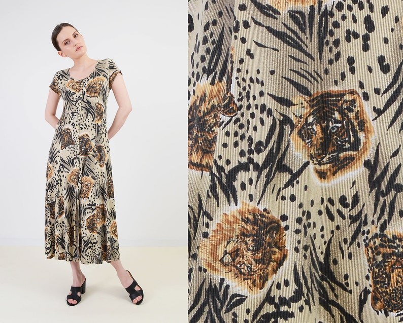 Vintage Animal Print Dress  Button Front Ribbed Knit Maxi image 0
