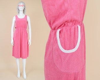 70s Pink Terry Cloth Dress | size S M | Sleeveless Elastic Waist Cotton Sundress Midi Dress with Pockets Pink and White | Small Medium