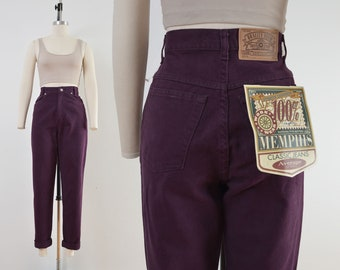 Vintage Plum Purple Jeans | 90s High Waisted Tapered Leg Jeans | size S M