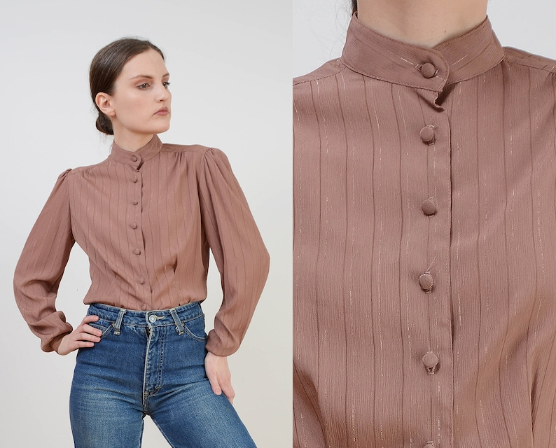 Vintage 70s Brown Secretary Blouse  Metallic Gold Striped image 0