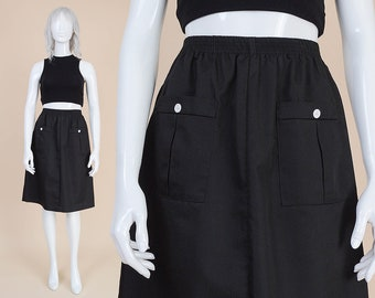 70s Black Minimal Skirt with Pockets | size Small | Casual Elastic High Waist Knee Length A-line Skirt White Buttons | S 4 / 6