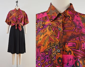Vintage Abstract Patchwork Shirt   100% Silk Blouse   Collared Button Up Shirt   size
