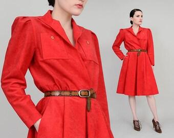 70s Rose Red Dress | Faux Ultra Suede Dress | Long Sleeve Button Up Shirt Waister Dress | Knee Length Midi Dress Womens Size Medium M