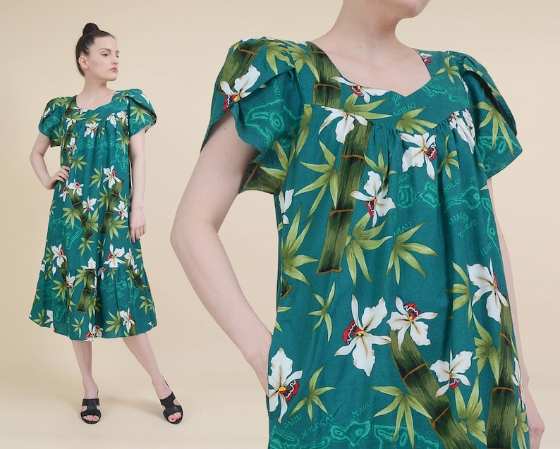 31839ee95402 Vintage 80s Hawaiian Tent Dress Teal Green Floral and Bamboo | Etsy